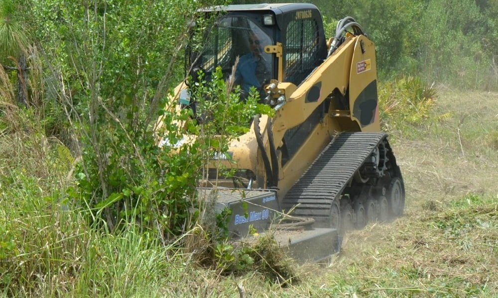 Heavy Duty Skid-Steer Mower Attachment And Brush Cutter In Action